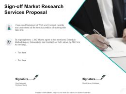 Sign Off Market Research Services Proposal Planning Ppt Powerpoint Presentation Pictures Smartart