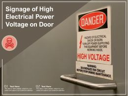 Signage Of High Electrical Power Voltage On Door