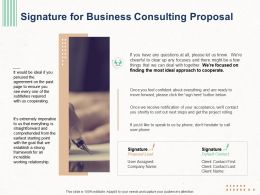 Signature For Business Consulting Proposal Ppt Powerpoint Presentation Show