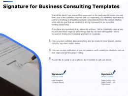Signature For Business Consulting Templates Ppt Powerpoint Presentation Infographics