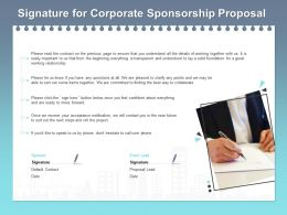 Signature For Corporate Sponsorship Proposal Ppt Powerpoint Presentation Styles