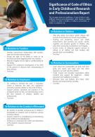 Significance Of Code Of Ethics In Early Childhood Research And Professionalism Report Infographic PPT PDF Document