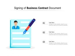 Signing Of Business Contract Document