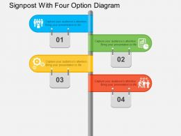 Signpost With Four Option Diagram Flat Powerpoint Design