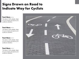 Signs Drawn On Road To Indicate Way For Cyclists