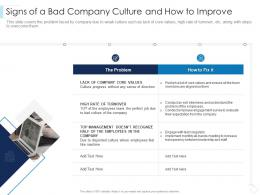 Signs Of A Bad Company Culture And How To Improve Leaders Guide To Corporate Culture Ppt Professional
