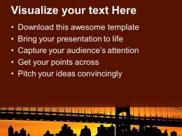 Silhouette Of Bridge Over Sunset Powerpoint Templates Ppt Backgrounds For Slides 0213