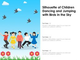 Silhouette Of Children Dancing And Jumping With Birds In The Sky