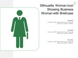 Silhouette Woman Icon Showing Business Woman With Briefcase