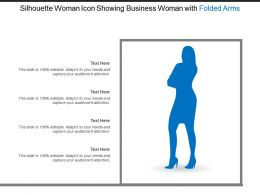 Silhouette Woman Icon Showing Business Woman With Folded Arms