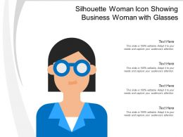 Silhouette Woman Icon Showing Business Woman With Glasses