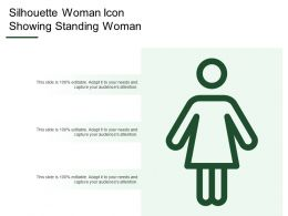 Silhouette Woman Icon Showing Standing Woman