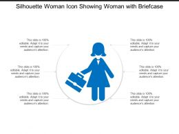 Silhouette Woman Icon Showing Woman With Briefcase