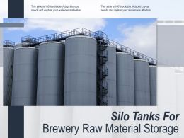 Silo Tanks For Brewery Raw Material Storage