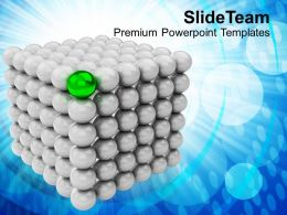 Silver Balls Forming Cubes Green Leader Powerpoint Templates Ppt Themes And Graphics 0113