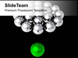 Silver Balls With Green Leader On Background PowerPoint Templates PPT Themes And Graphics 0213
