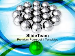 Silver Balls With Green Leader Symbol Powerpoint Templates Ppt Themes And Graphics 0113