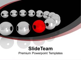 Silver Balls With Red Leader Teamwork PowerPoint Templates PPT Backgrounds For Slides 0113