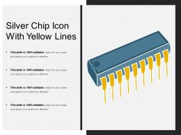 Silver Chip Icon With Yellow Lines