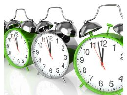 Silver Clock With Green Clocks To Show Leadership Stock Photo