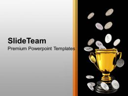 Silver Coins Falling On Trophy Savings Powerpoint Templates Ppt Themes And Graphics 0213