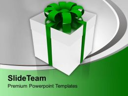 Silver Gift Box With Green Ribbon Holiday Powerpoint Templates Ppt Themes And Graphics 0113