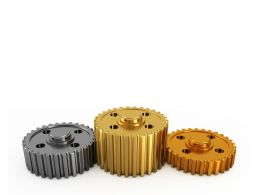 Silver Gold Bronze Gears Showing Winner Podium Concept Stock Photo