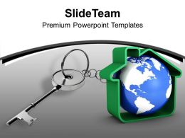 Silver Key Attached With Globe Security PowerPoint Templates PPT Themes And Graphics 0213