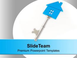 Silver Key With Sweet Home Security Estate Powerpoint Templates PPT Themes And Graphics 0213