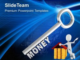 Silver Key With Word Money Powerpoint Templates Ppt Backgrounds For Slides 0213