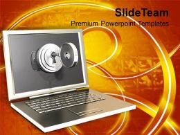 Silver Laptop With Lock Key Security Powerpoint Templates Ppt Themes And Graphics 0113