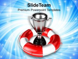 silver trophy under safeguard powerpoint templates ppt themes and graphics 0213