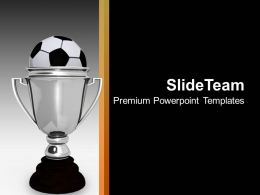 Silver Trophy With Soccer Ball Award PowerPoint Templates PPT Backgrounds For Slides 0113