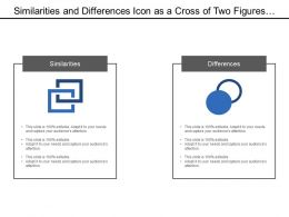 Similarities And Differences Icon As A Cross Of Two Figures To Show Both Properties