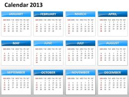 Simple Elegant Complete 2013 Calender Template and Powerpoint Slide for Planning