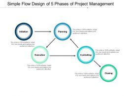 Simple Flow Design Of 5 Phases Of Project Management