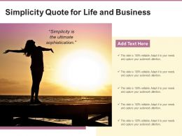 Simplicity Quote For Life And Business