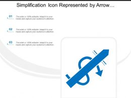 Simplification Icon Represented By Arrow Crossing Moving Arrow Sign
