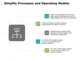 Simplify Processes And Operating Models It Process Engineering Ppt Powerpoint Presentation Icon Pictures