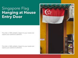 Singapore Flag Hanging At House Entry Door