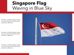 Singapore Flag Waving In Blue Sky
