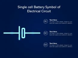 Single Cell Battery Symbol Of Electrical Circuit