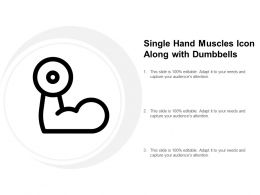 Single Hand Muscles Icon Along With Dumbbells