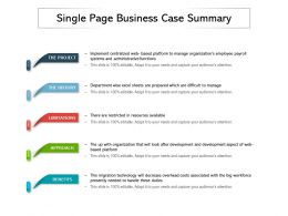 Single Page Business Case Summary