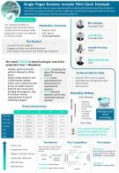 Single Pager Business Investor Pitch Deck Example Presentation Report Infographic PPT PDF Document