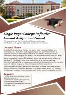 Single Pager College Reflective Journal Assignment Format Presentation Report Infographic PPT PDF Document