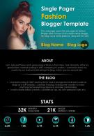 Single Pager Fashion Blogger Template Presentation Report Infographic PPT PDF Document