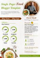 Single Pager Food Blogger Template Presentation Report Infographic PPT PDF Document