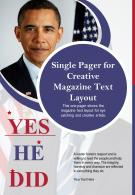 Single Pager For Creative Magazine Text Layout Presentation Report Infographic PPT PDF Document
