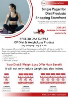 Single Pager For Diet Products Shopping Storefront Presentation Report Infographic PPT PDF Document